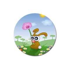 Easter Spring Flowers Happy Magnet 3  (round) by Nexatart