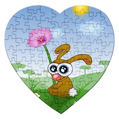 Easter Spring Flowers Happy Jigsaw Puzzle (heart) by Nexatart