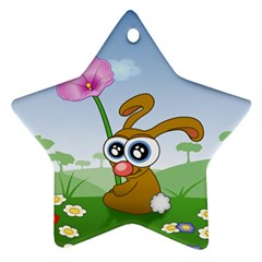 Easter Spring Flowers Happy Star Ornament (Two Sides) by Nexatart