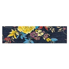 Deep Blue Vintage Flowers Satin Scarf (oblong) by Brittlevirginclothing