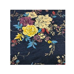Deep Blue Vintage Flowers Small Satin Scarf (square) by Brittlevirginclothing