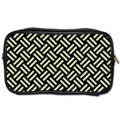 Woven2 Black Marble & Beige Linen Toiletries Bag (two Sides)
