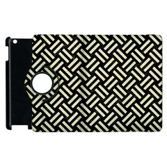 Woven2 Black Marble & Beige Linen Apple Ipad 2 Flip 360 Case by trendistuff