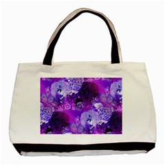 Urban Purple Flowers Basic Tote Bag (two Sides) by KirstenStar