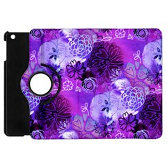 Urban Purple Flowers Apple Ipad Mini Flip 360 Case by KirstenStar