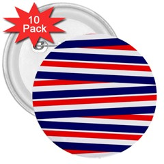 Red White Blue Patriotic Ribbons 3  Buttons (10 Pack)  by Nexatart