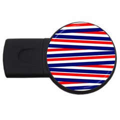 Red White Blue Patriotic Ribbons Usb Flash Drive Round (4 Gb)
