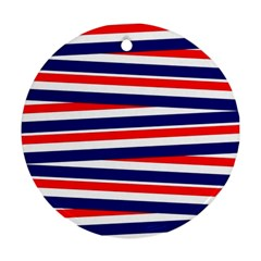 Red White Blue Patriotic Ribbons Round Ornament (two Sides) by Nexatart