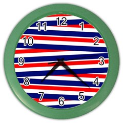 Red White Blue Patriotic Ribbons Color Wall Clocks by Nexatart