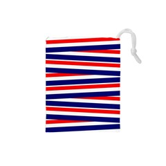Red White Blue Patriotic Ribbons Drawstring Pouches (small)