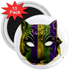 Catwoman Mardi Gras Mask 3  Magnets (10 Pack)  by dflcprints