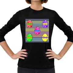 Holidays Occasions Easter Eggs Women s Long Sleeve Dark T Shirts