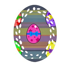 Holidays Occasions Easter Eggs Oval Filigree Ornament (two Sides) by Nexatart