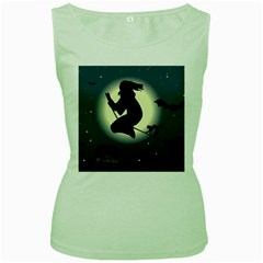 Halloween Card With Witch Vector Clipart Women s Green Tank Top by Nexatart