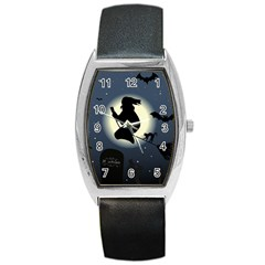 Halloween Card With Witch Vector Clipart Barrel Style Metal Watch