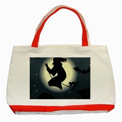 Halloween Card With Witch Vector Clipart Classic Tote Bag (red)