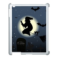 Halloween Card With Witch Vector Clipart Apple Ipad 3/4 Case (white) by Nexatart
