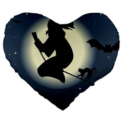 Halloween Card With Witch Vector Clipart Large 19  Premium Heart Shape Cushions