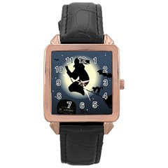 Halloween Card With Witch Vector Clipart Rose Gold Leather Watch