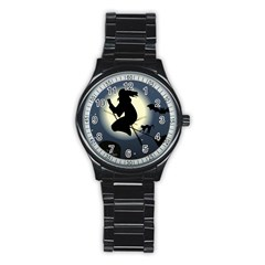 Halloween Card With Witch Vector Clipart Stainless Steel Round Watch
