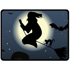 Halloween Card With Witch Vector Clipart Double Sided Fleece Blanket (large)