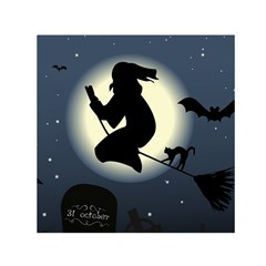 Halloween Card With Witch Vector Clipart Small Satin Scarf (square) by Nexatart