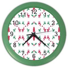 Reindeer Pattern Color Wall Clocks