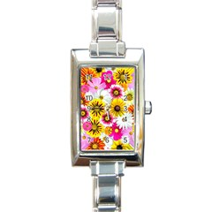 Flowers Blossom Bloom Nature Plant Rectangle Italian Charm Watch by Nexatart