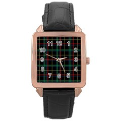 Plaid Tartan Checks Pattern Rose Gold Leather Watch  by Nexatart