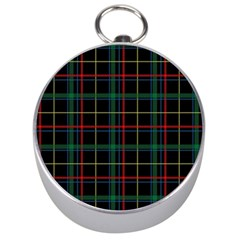 Plaid Tartan Checks Pattern Silver Compasses