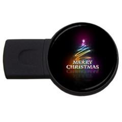 Merry Christmas Abstract Usb Flash Drive Round (2 Gb) by Nexatart