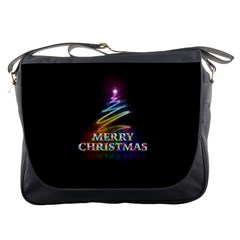 Merry Christmas Abstract Messenger Bags by Nexatart