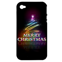 Merry Christmas Abstract Apple Iphone 4/4s Hardshell Case (pc+silicone)