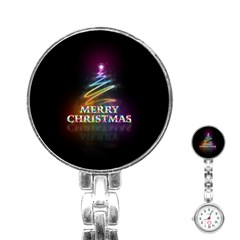 Merry Christmas Abstract Stainless Steel Nurses Watch by Nexatart
