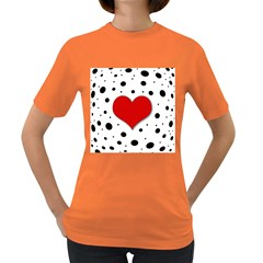 Red Heart Women s Dark T Shirt by Valentinaart