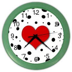 Red Heart Color Wall Clocks by Valentinaart