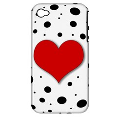 Red Heart Apple Iphone 4/4s Hardshell Case (pc+silicone) by Valentinaart