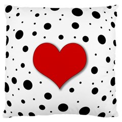 Red Heart Large Flano Cushion Case (one Side) by Valentinaart