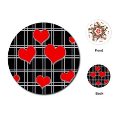 Red Hearts Pattern Playing Cards (round)  by Valentinaart