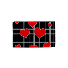 Red Hearts Pattern Cosmetic Bag (small)  by Valentinaart