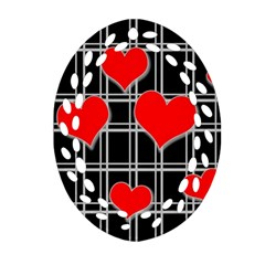 Red Hearts Pattern Ornament (oval Filigree) by Valentinaart