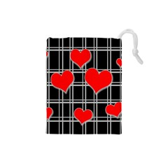 Red Hearts Pattern Drawstring Pouches (small)  by Valentinaart