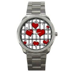 Hearts Pattern Sport Metal Watch by Valentinaart