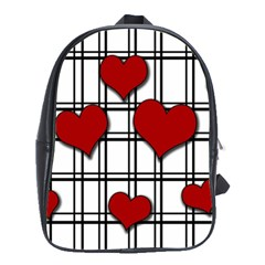 Hearts Pattern School Bags(large)  by Valentinaart