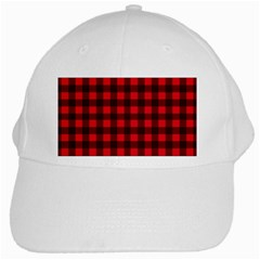 Red And Black Plaid Pattern White Cap by Valentinaart