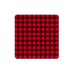 Red And Black Plaid Pattern Square Magnet by Valentinaart