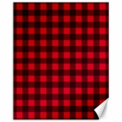 Red And Black Plaid Pattern Canvas 11  X 14   by Valentinaart