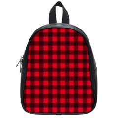 Red And Black Plaid Pattern School Bags (small)  by Valentinaart