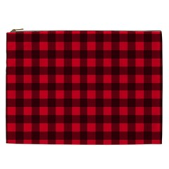 Red And Black Plaid Pattern Cosmetic Bag (xxl)  by Valentinaart
