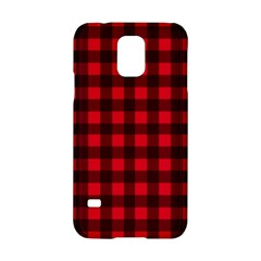 Red And Black Plaid Pattern Samsung Galaxy S5 Hardshell Case  by Valentinaart